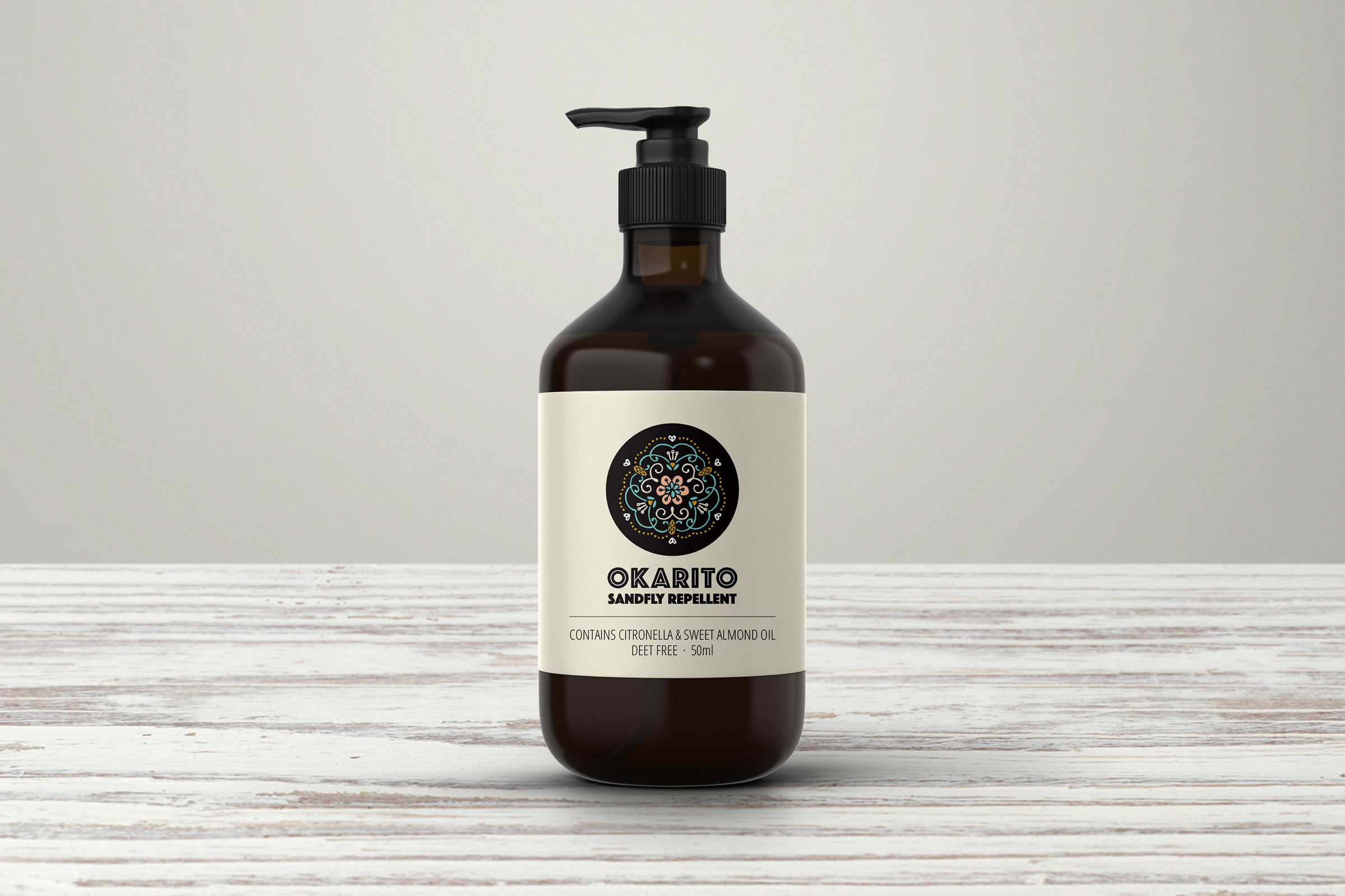 Okarito Sandfly Repellent | Packaging design