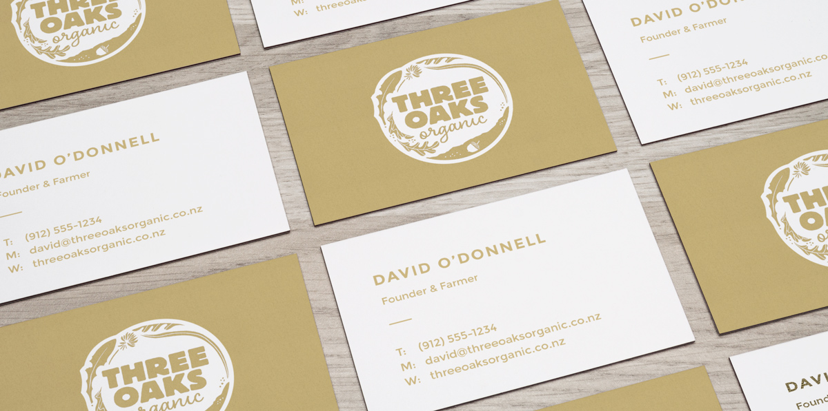 Three Oaks Organic businesscards