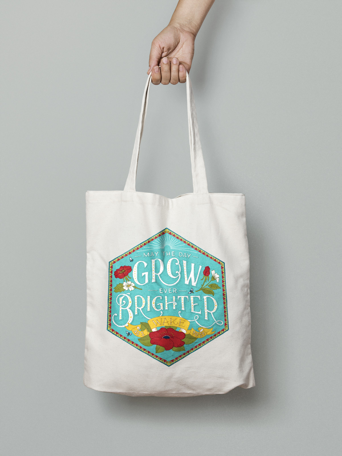 May the day grow ever brighter tote bag