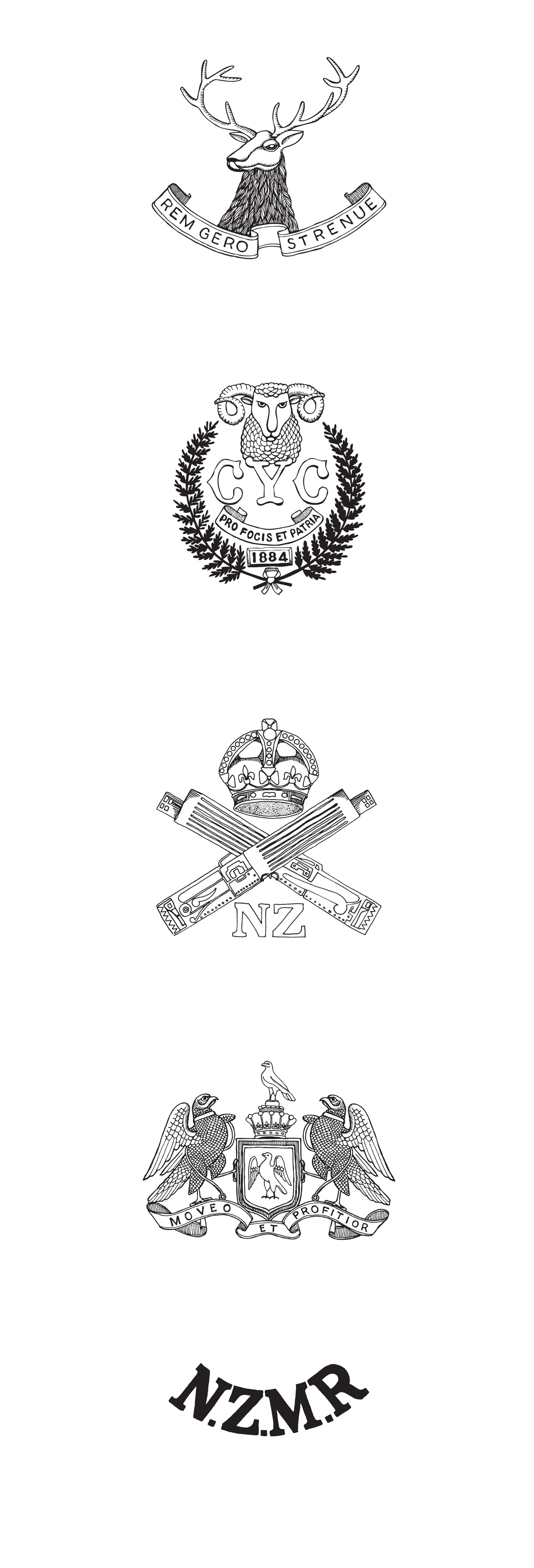 Mounted Rifles badges illustration