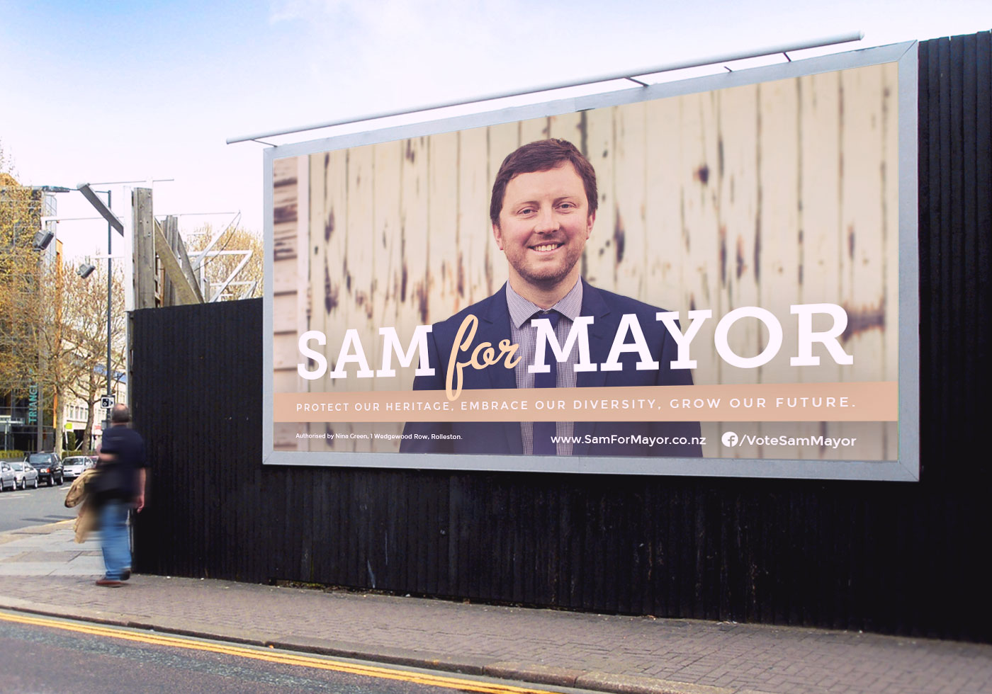 Sam Broughton Mayoral Campaign billboard